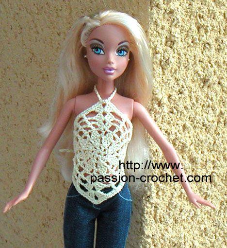Top au crochet pour poup e Barbie Vêtements barbie