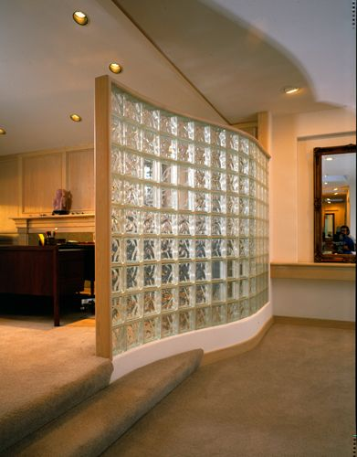 Glass block partition another idea for hank 39 s office Opening glass walls