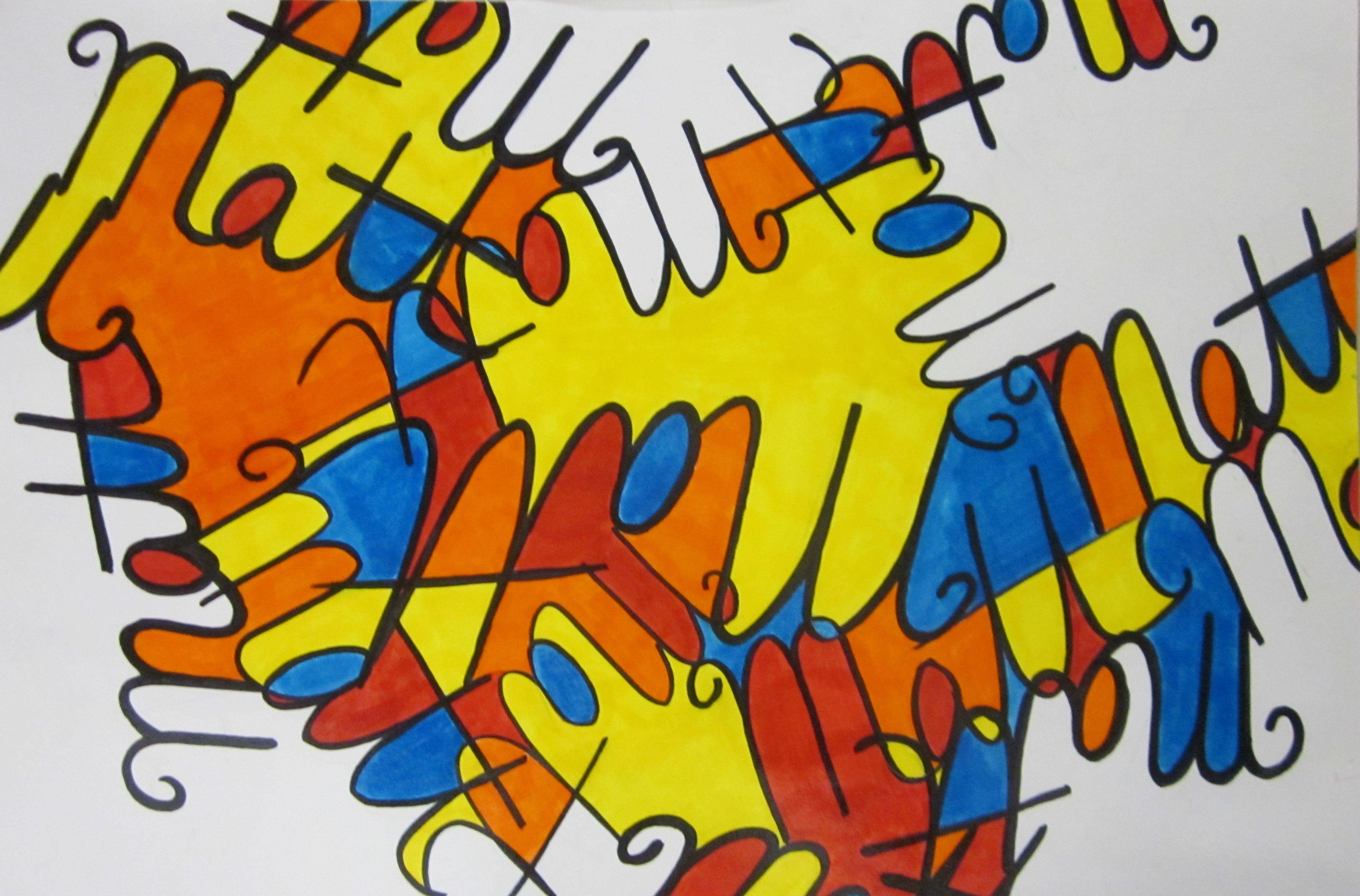 Cursive Name Project/ Middle School Sub Lesson | Art Lesson Ideas ...