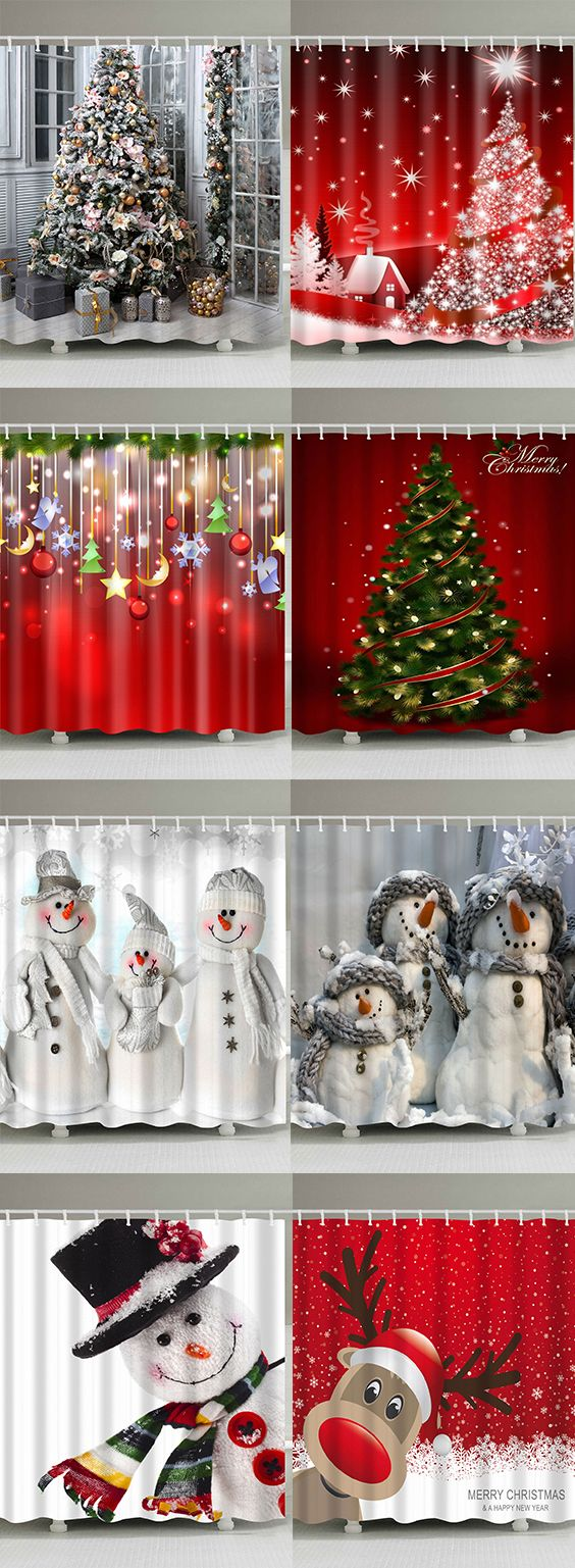 50% OFF Christmas Shower Curtains,Free Shipping Worldwide ...