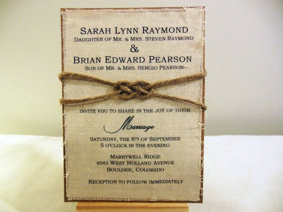 DIY Rustic Wedding Invitation Kit   Burlap Fabric Rustic Wedding Knot  Invitation Ideas Wedding Invitation Sample