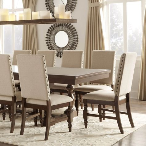 Tribecca Home Flatiron Nailhead Upholstered Dining Chairs Set Of Captivating Beige Leather Dining Room Chairs Design Inspiration