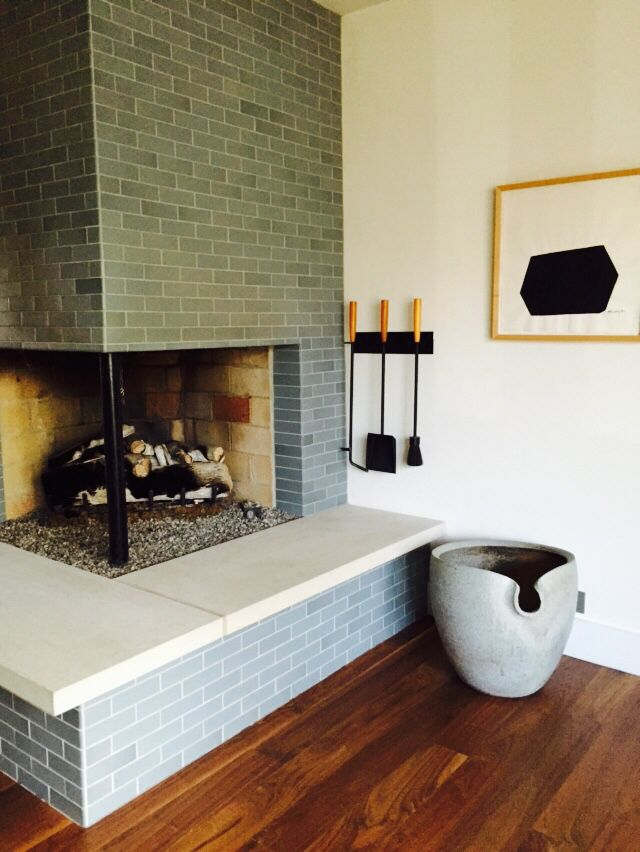 Heath Tile Fireplace With Ceramic Container By David Peters Ceramicist Fireplace Tile Heath Ceramics Tile Ceramic Floor Tiles
