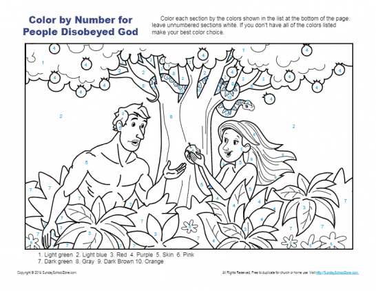 Color By Number Bible Coloring Pages On Sunday School Zone Bible Coloring Pages Childrens Bible Activities Bible Coloring
