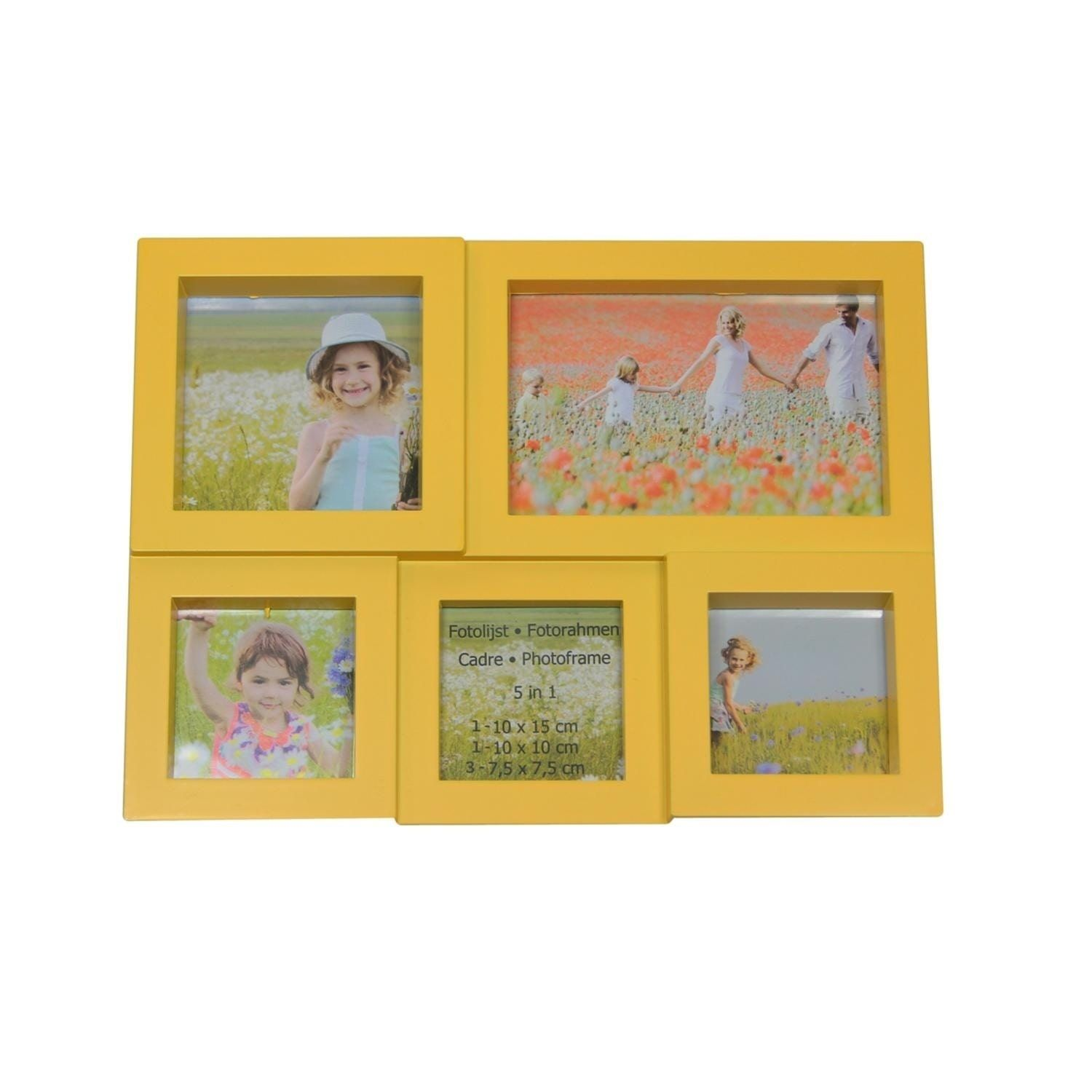 11.5 Yellow Multi-Sized Puzzled Photo Picture Frame Collage Wall ...