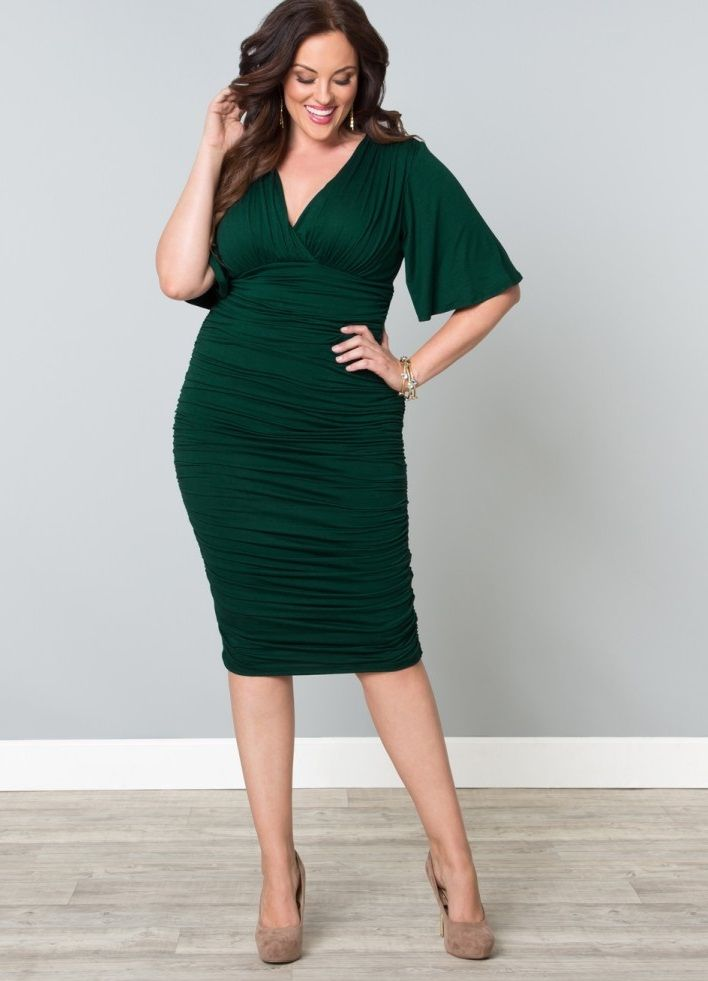 af48594753b Curvalicious Clothes    Plus Size Dresses    Rumor Ruched Dress - Green  3