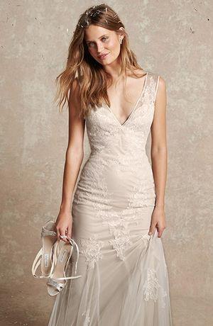 V-Neck Sheath Wedding Dress with No Waist/Princess Seams in ...