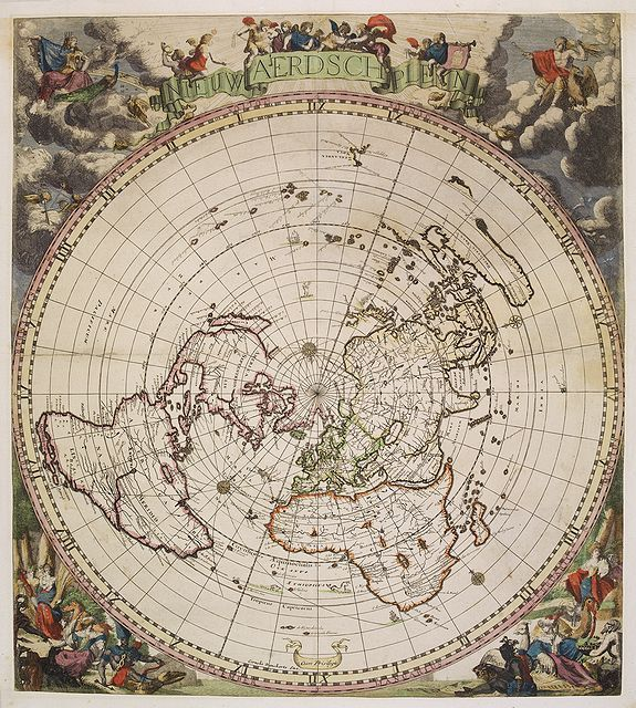 Leszek leszeksmagowicz on pinterest this rare world map in a single polar projection was issued in amsterdam in 1700 by the danckerts family who had obtained the copperplate from jacob robyn gumiabroncs Images