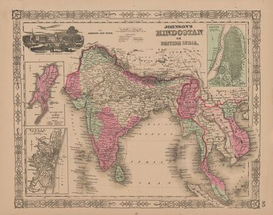 Hindostan British India Antique Map Johnson Antique Maps And - Old state maps for sale