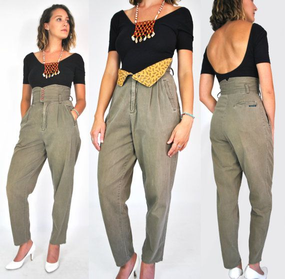 80s ULTRA High Waisted Trousers Underbust Pants Olive Green Button Fly Army  Pleat 1980s 1990s 90s Tapered Ankle Pocketless 26 27 Mom Jeans