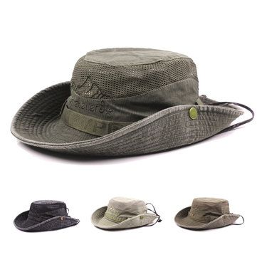 78df4406f4c Mens Summer Cotton Embroidery Visor Bucket Hats Fisherman Hat Outdoor  Climbing Mesh Sunshade Cap is designer