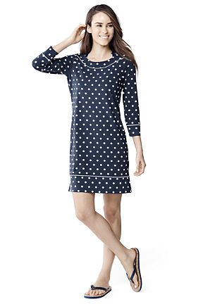 ec167a3c43 Women s Swim Cover-up Boatneck Tunic Dress from Lands  End