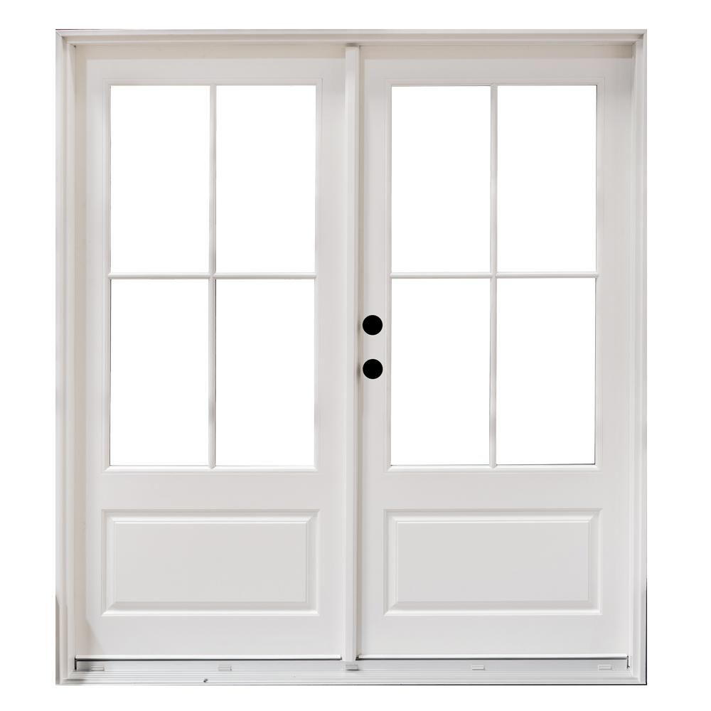 Mp Doors 72 In X 80 In Fiberglass Smooth White Right Hand Inswing Hinged 3 4 Lite Patio Door With 4 Lite Gbg Hn6068r3qw3 The Home Depot Fiberglass Patio Doors Patio Doors French Doors Interior