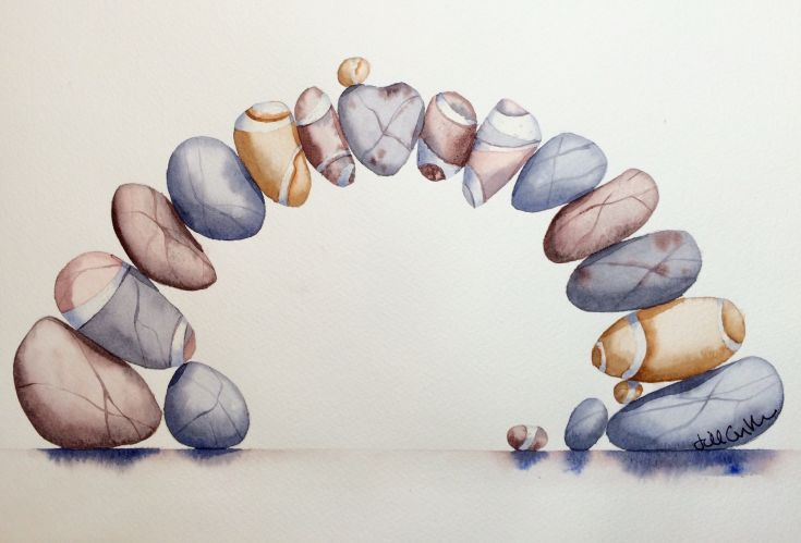 ARTFINDER: Impossipebble Bridge by Jill Griffin - I have been painting pebbles for most of my career and have thoroughly enjoyed composing pebbles in different arrangements- this being the most ambitious yet...