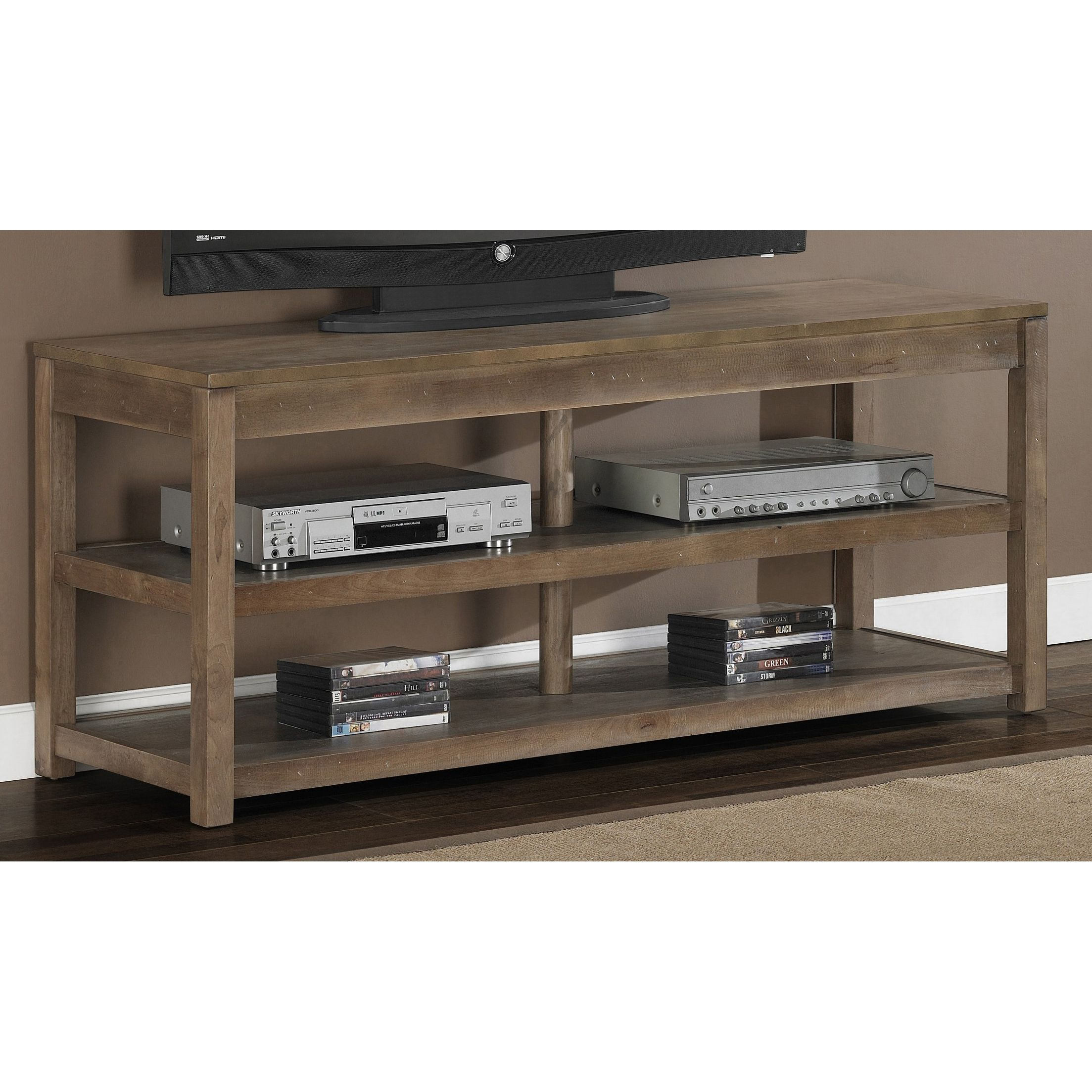 This rustic entertainment center from Tacoma furniture is the perfect addition to your game room or man cave. Featuring two shelves for storage and non-mar foot glides, this solid-wood media center has a weathered gray oak finish for a reclaimed look.