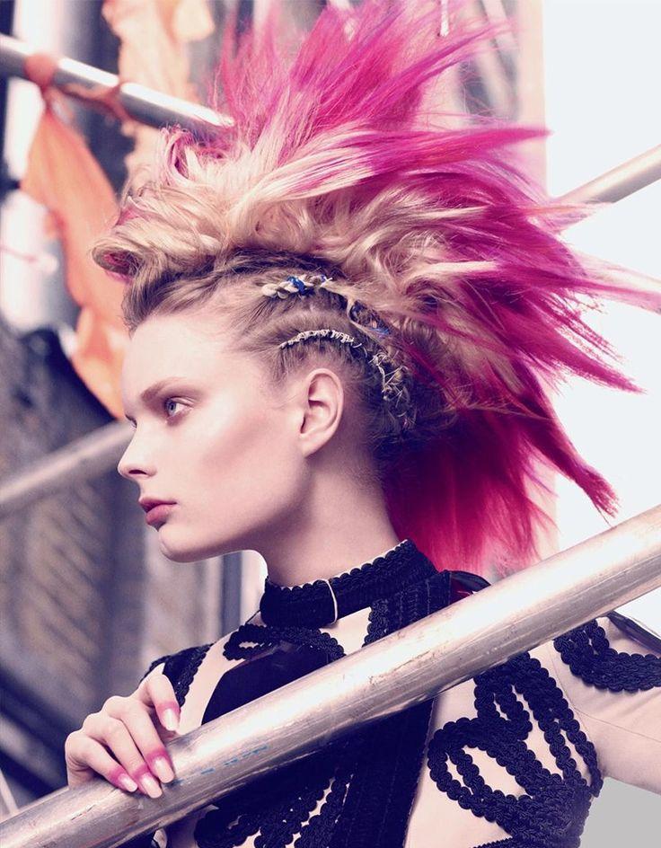 Girl Pink Mohawk Shaved