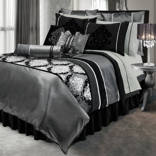 silver and black king duvet set. $272. http://www.home-decorating