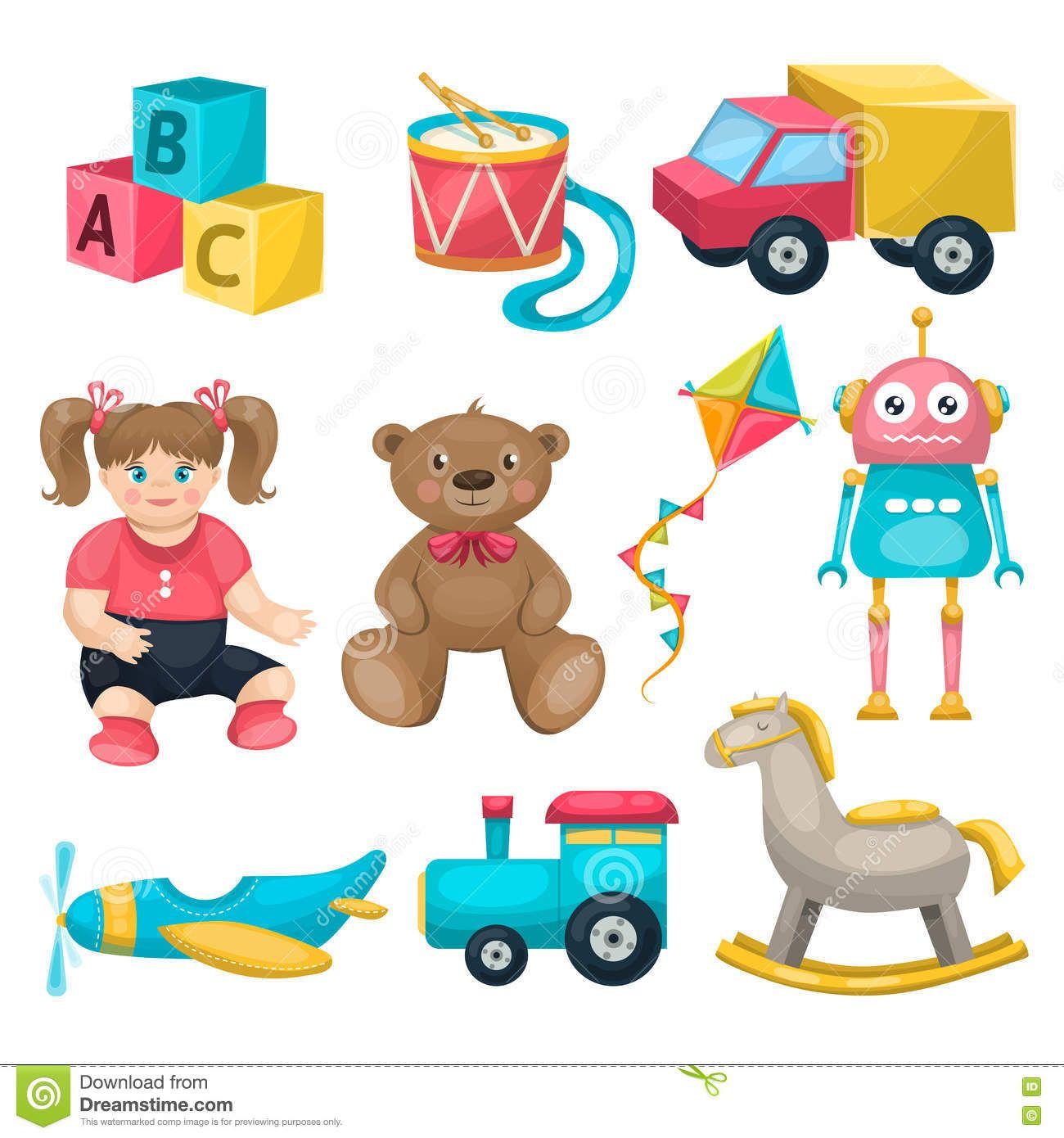 Download Kids Single Toys Set Royalty Free Cartoon via