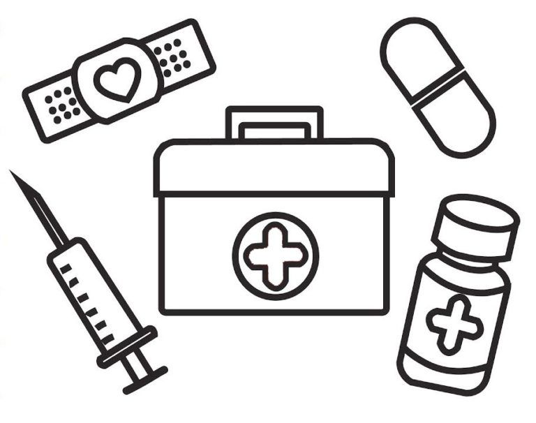 Medical Kit And First Aid Coloring Page First Aid For Kids Coloring Pages For Kids Medical Kit