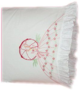 Standard White Fairway Needlecraft 82511 Vintage Ruffled Edge Pillowcases Butterfly Lady Design