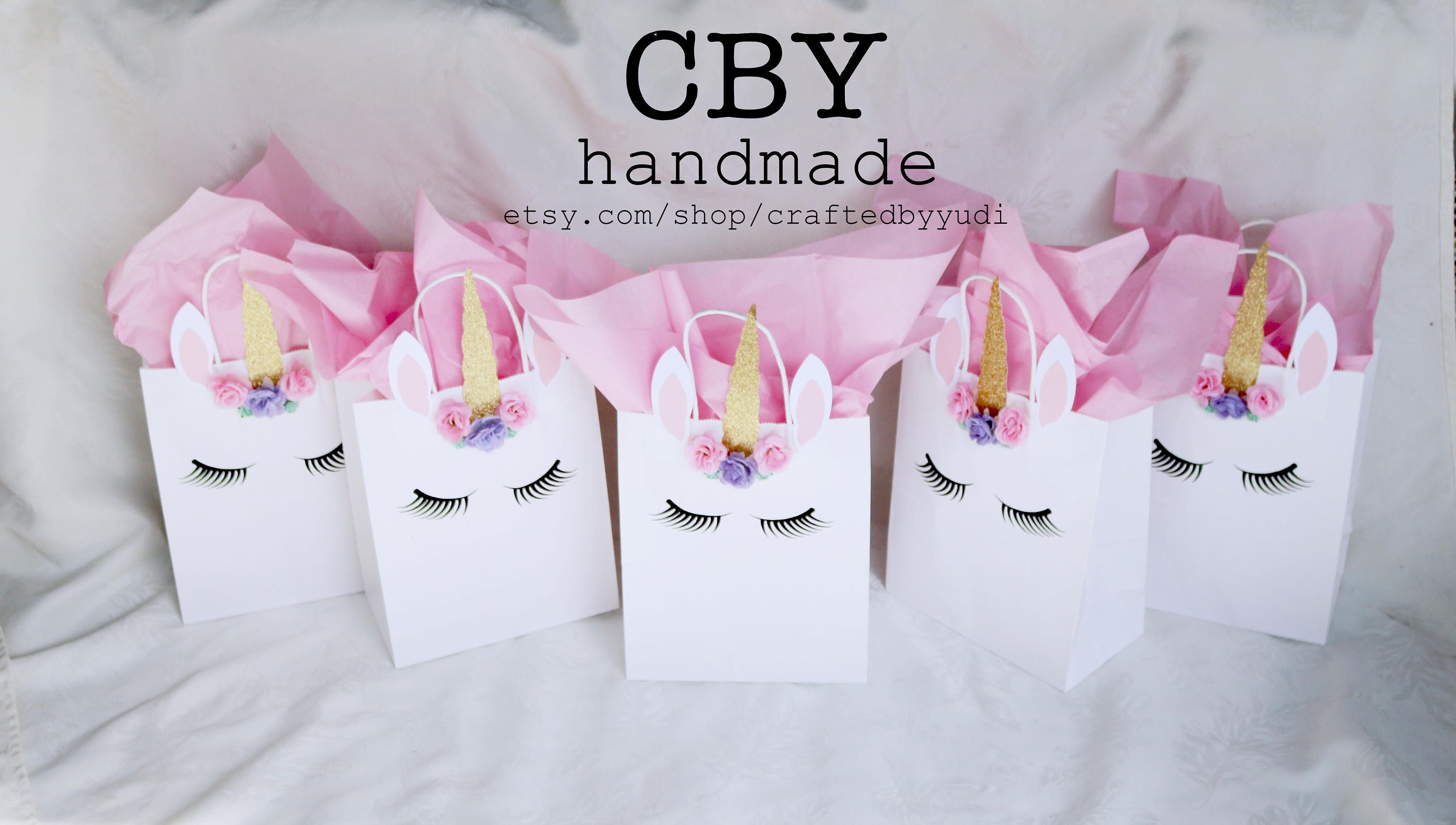 Large Unicorn Party Gift Bags Set Of 5 Treat By Craftedbyyudi On Etsy