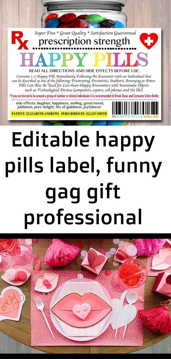 Editable happy pills label, funny gag gift professional office gift, christmas gift, birthday gift 7 #sweetestdaygiftsforboyfriend