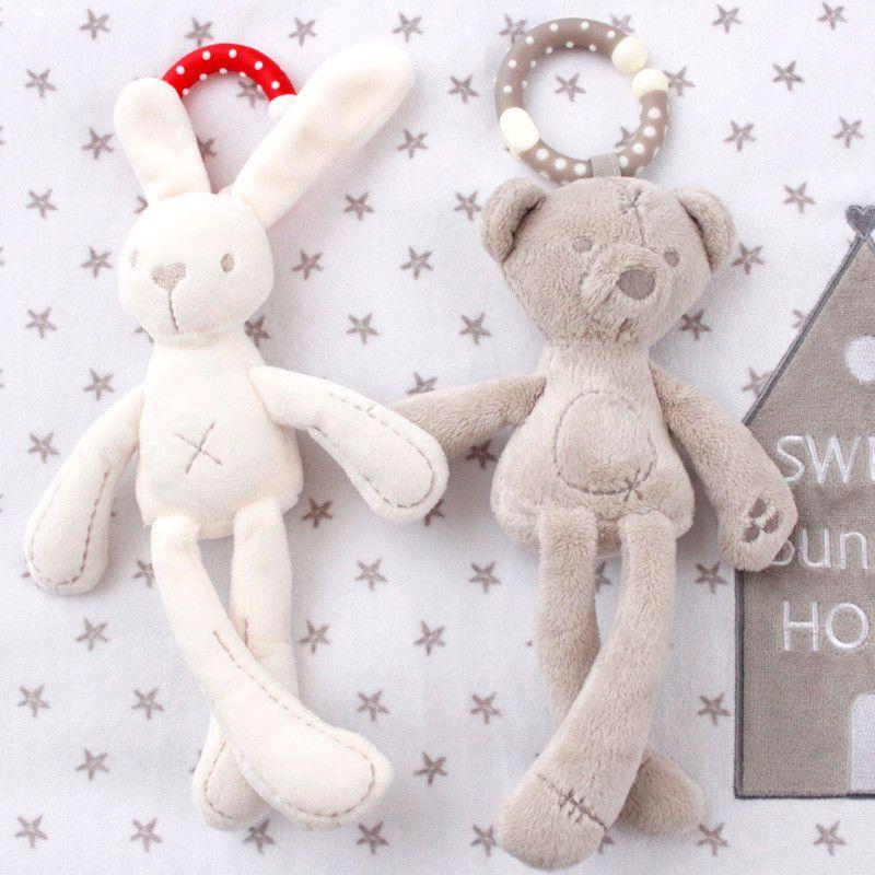 Rabbit Bear Plush Musical Crib Stroller Toy Baby Pram Rattle Hanging Animal Toys