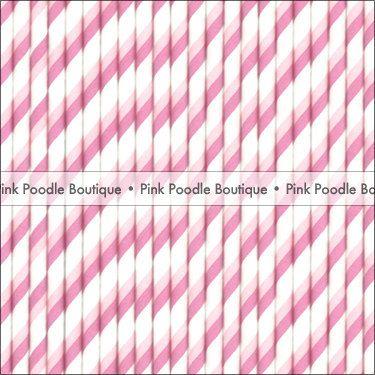 Two-Tone Pink & White PAPER STRAWS / Drink STIRRERS (10 pc 25 pc 50 pc) -- Diagonal Stripe  --  Gender Reveal #Pink #Wedding #PinkWedding #Paper