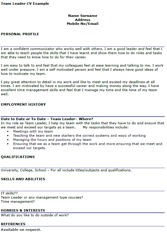 Team Leader Example Icover Useful Materials For Writing Cover