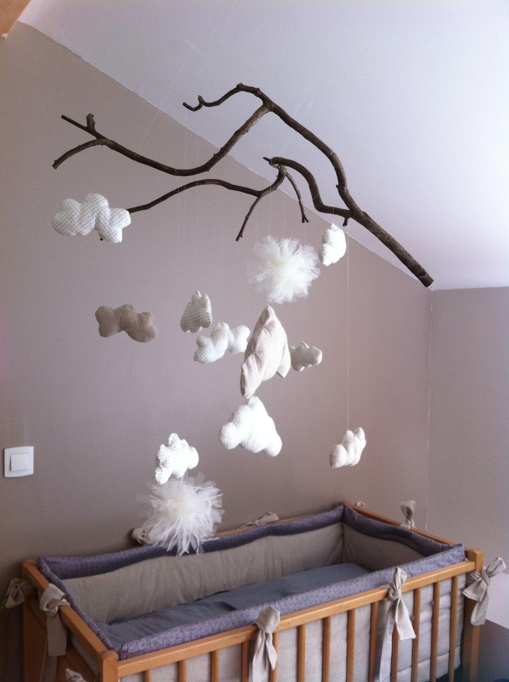 Mobile nuage pour la chambre de b b clouds for nursery Deco chambre bebe nuage