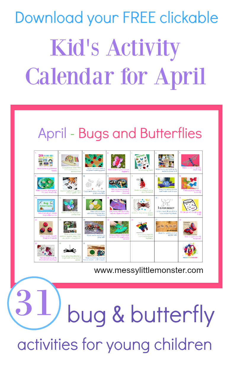 Bug Butterfly Activity Calendar April World Of Bugs Kids