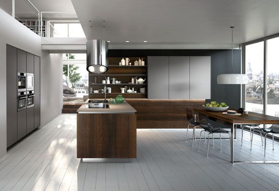 Snaidero And Falmec Green Island Hood Modern Kitchen Trends