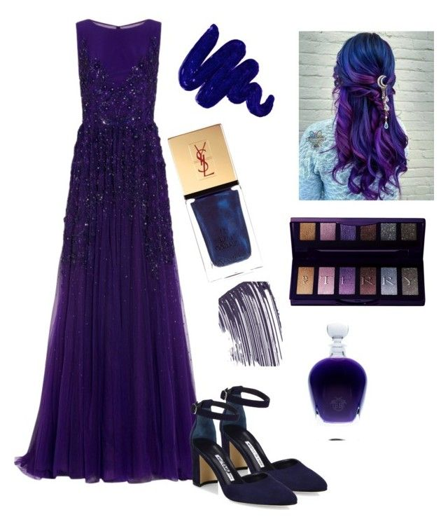 """""""🌜 Night Goddess 🌛"""" by singingsophatron on Polyvore featuring Georges Hobeika, Manolo Blahnik, Obsessive Compulsive Cosmetics, Yves Saint Laurent, By Terry and Chanel"""