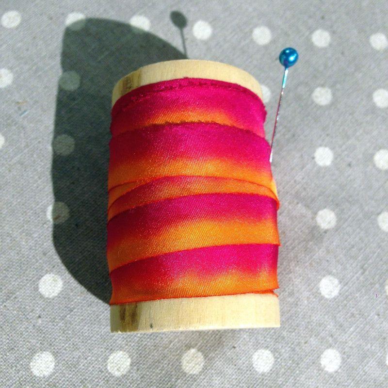 Silk Bias Ribbon, Magenta & Bright Orange