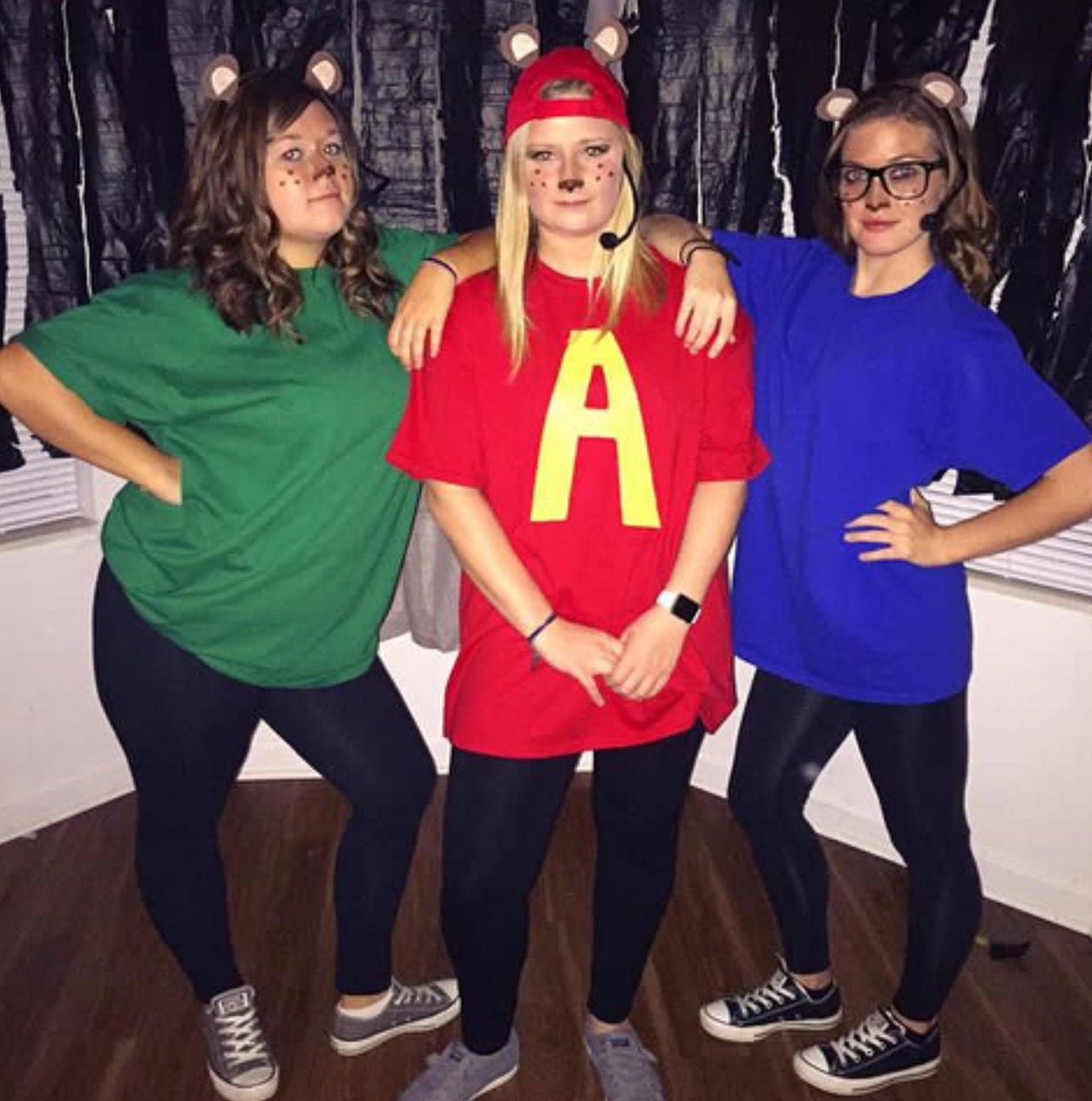 Alvin And The Chipmunks Halloween Costume For Three People Halloween Costumes Friends Trio Halloween Costumes Cute Halloween Costumes