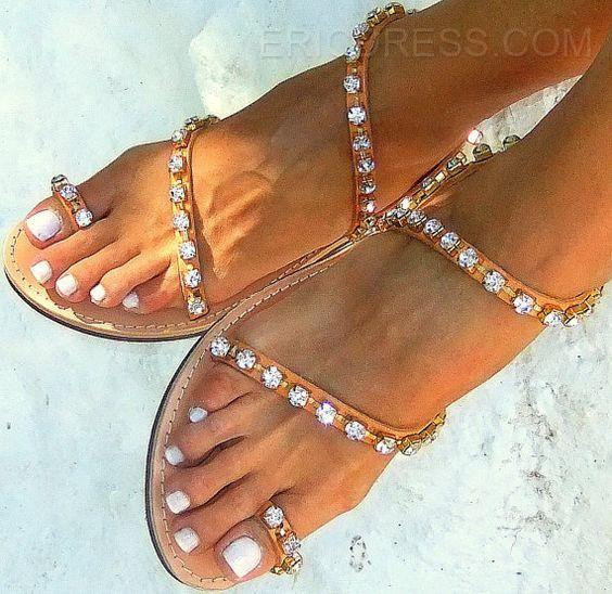 b77d3cd840cf Ericdress Toe Ring Rhinestone Flat Sandals Flat Sandals