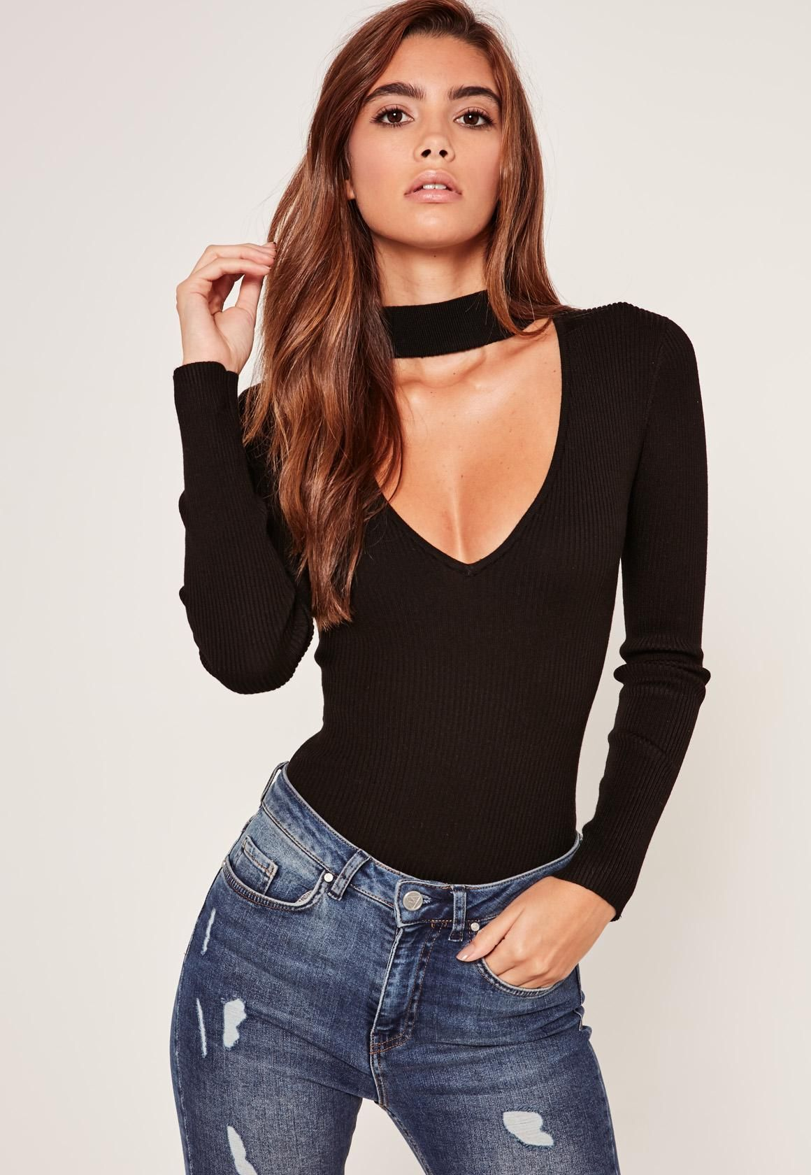 1685f2a1 Missguided - Choker Neck Long Sleeve Bodysuit Black | Beauty ...