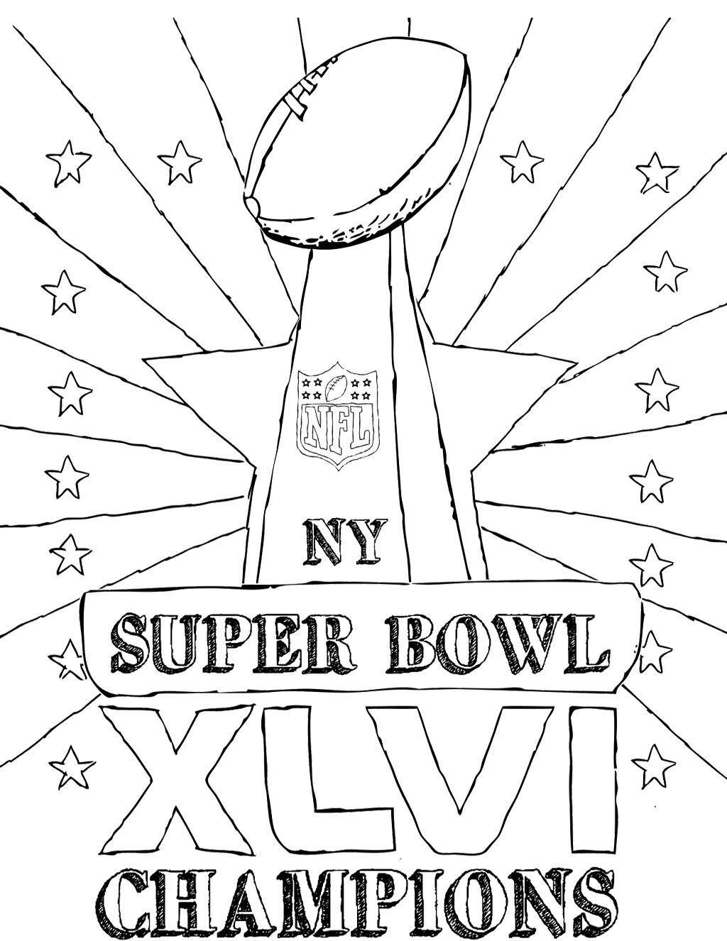 Super Bowl Champions Coloring Page | Kids Coloring Pages | Pinterest