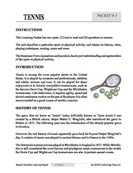 tennis an academic learning packet tennis worksheets and pe activities. Black Bedroom Furniture Sets. Home Design Ideas