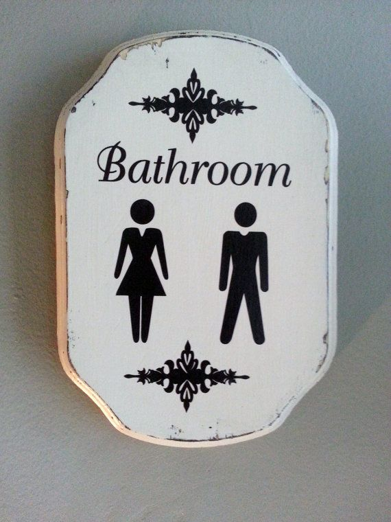 Custom Distressed Wood Bathroom Sign Male Female His Hers Unisex Restroom  Rustic Cottage Chic Shabby Sign     Office Bathroom