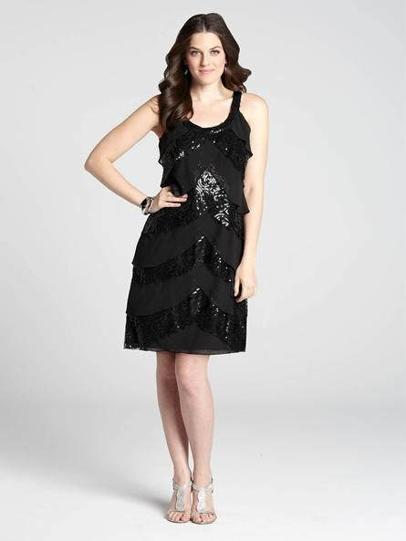 """Laura Petites: for women 5'4"""" and under. With flowing chiffon and shining sequin details, this dress is the perfect choice for your next party or evening event. The sassy length and tiered layers give the dress an air of fun. Pair with chic...4030103-0436"""