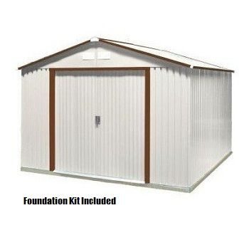 Duramax Sheds 50434 10x10 Del Mar Metal Shed With Foundation Kit In Brown Trim Duramax Sheds Steel Storage Sheds Metal Shed
