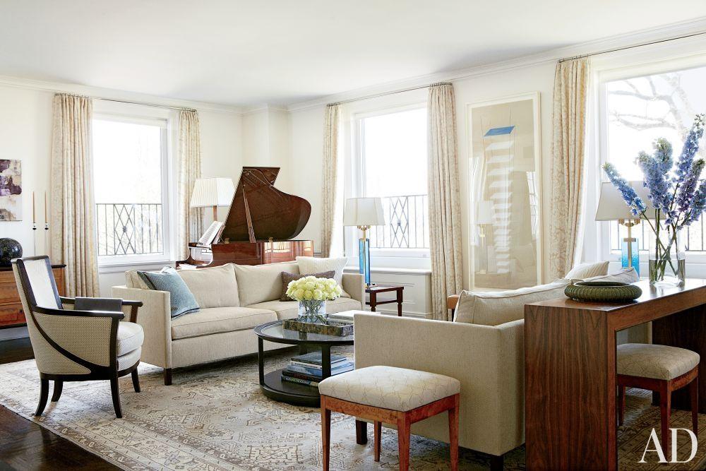 Tracy Pollan And Michael J. Foxu0027s New York City Living Room. Oushak Rug.
