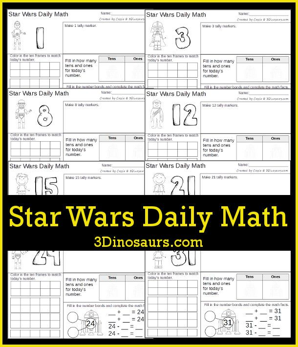 Do You Have A Young Star Wars Fan In Your Home Be Sure To Grab This Free Star Wars Math Pack This Pa Star Wars Classroom Daily Math Star Wars Classroom