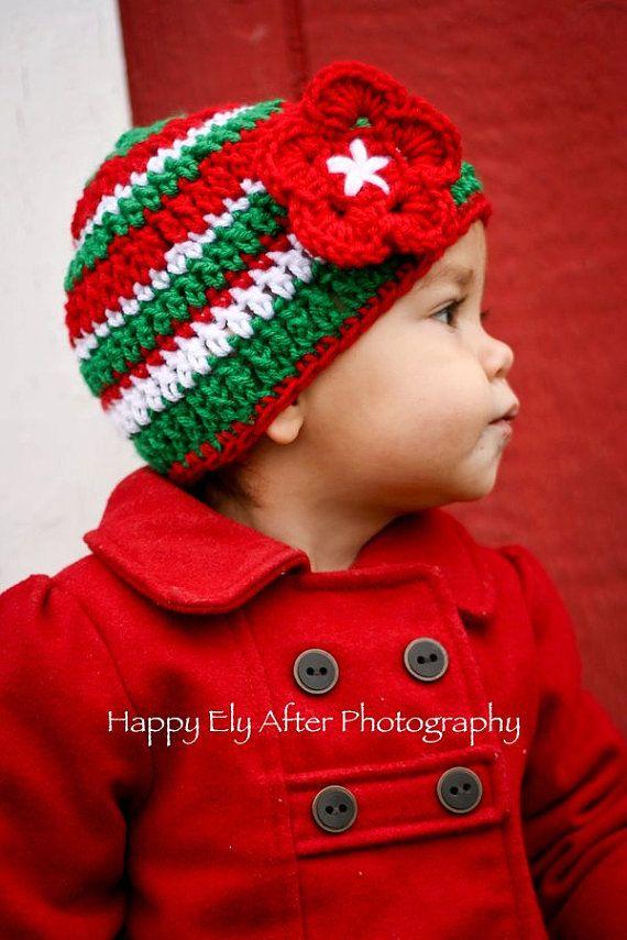 de8fda4be8a Christmas Striped Crochet Beanie - Christmas Hat Flower Hat Baby Girl  Christmas Hat