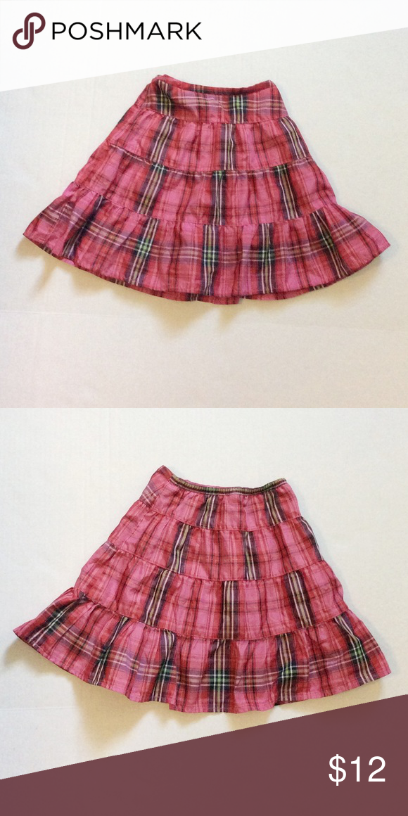 c49adc3f9e Gap Plaid Skirt Adorable shiny pink and red plaid skirt with elastic waist.  Labeled size 2, but fits like a 4. Perfect condition! babyGap Bottoms Skirts