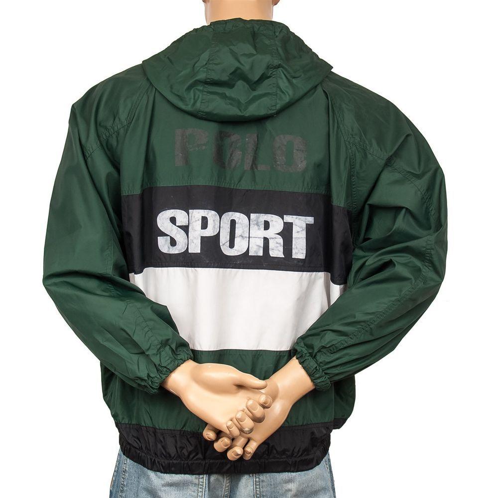 Vtg Polo Sport Ralph Lauren Windbreaker Jacket Striped USA