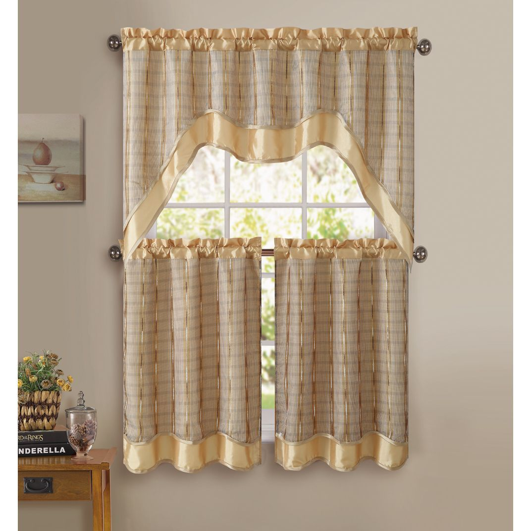 Vcny Sabrina 3-piece Kitchen Curtain Set (Green