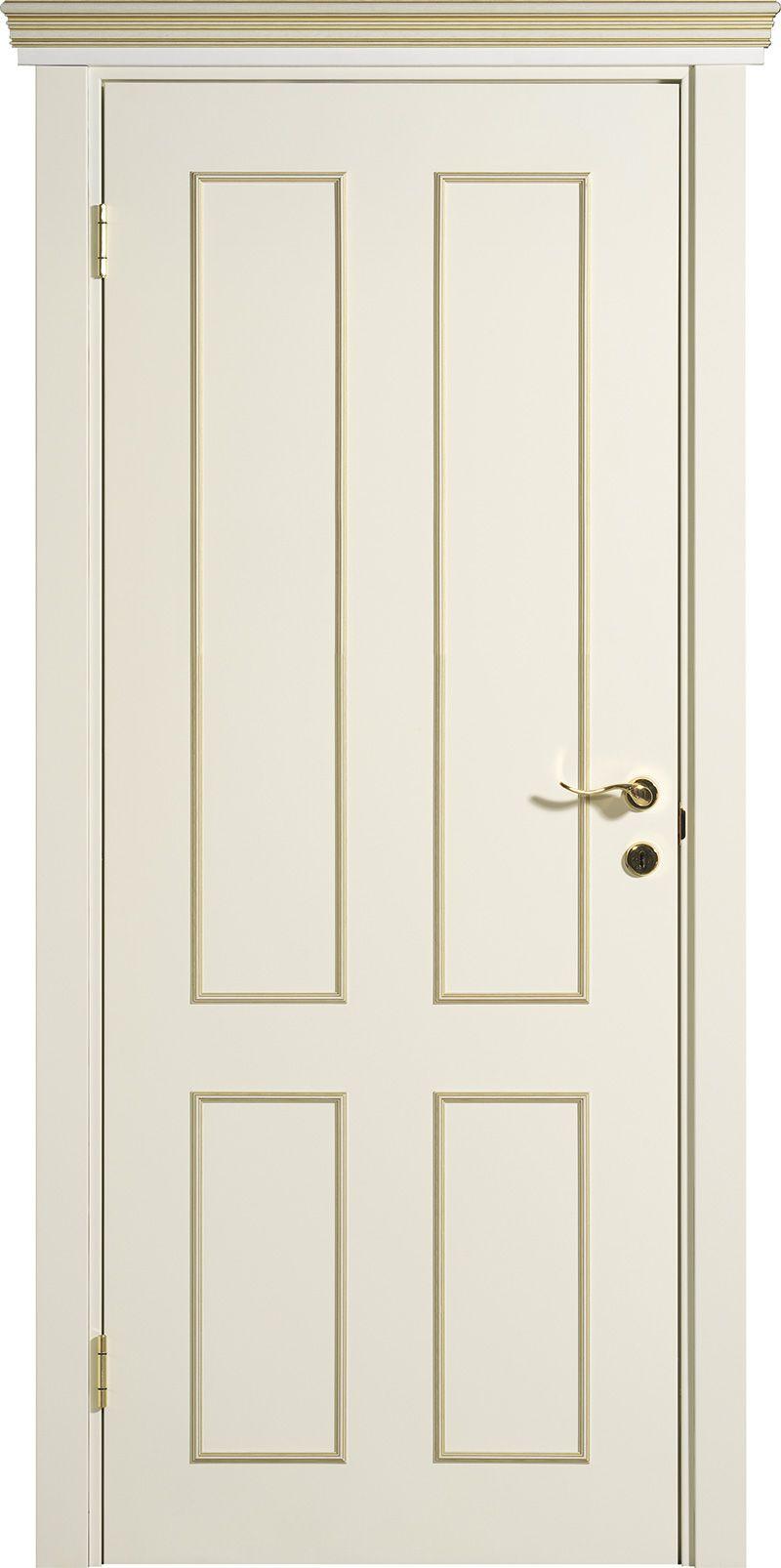 белые матовые межкомнатные двери Palladio 120 с позолоченными