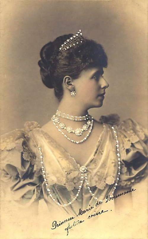 Marie of Edinburgh, Queen Consort of King Ferdiand I, Romania, wearing the Edinburgh Turquoise Demi-Parure (1893; from top, Tiara, Earrings, Necklace; turquoises, diamonds).